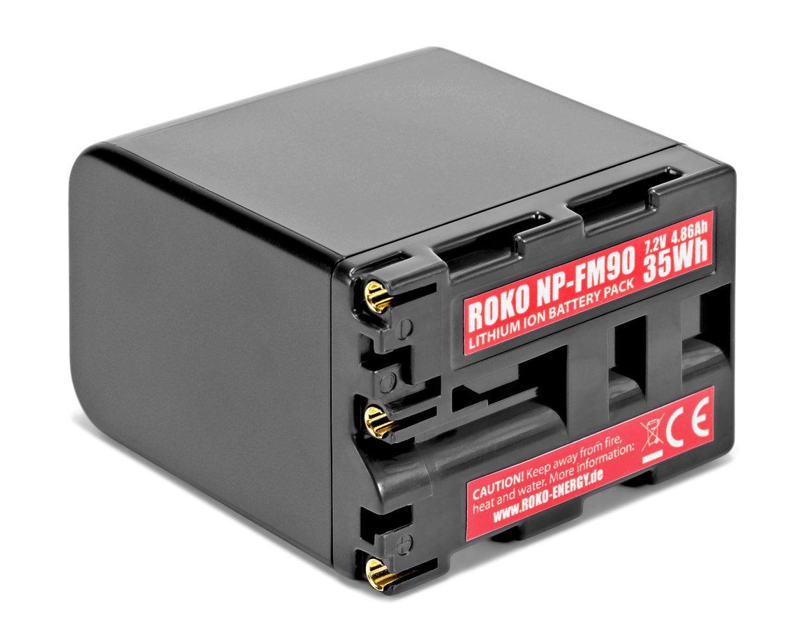 Mit dem ROKO NP-FM90 Akku lassen sich Monitore und Camcorder betreiben.