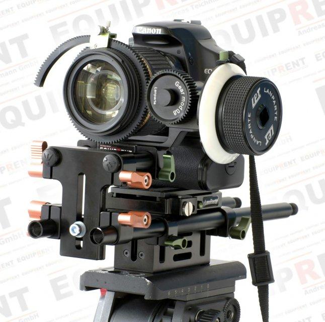 Canon EOS 650D mit ROKO Rig Height Raiser und Lanparte Follow Focus.
