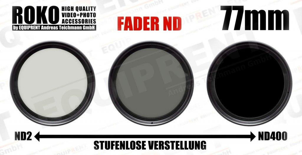 ROKO Slim Fader ND 77mm / Vari / Vario ND Filter (ND2-ND400).