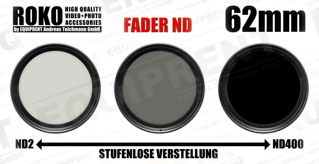 ROKO Slim Fader ND 62mm / Vari / Vario ND Filter (ND2-ND400).