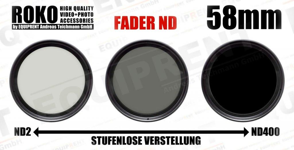 ROKO Slim Fader ND 58mm / Vari / Vario ND Filter (ND2-ND400).