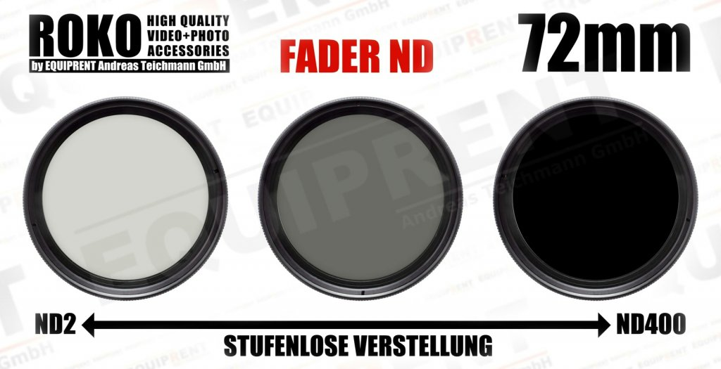 ROKO Slim Fader ND 72mm / Vari / Vario ND Filter (ND2-ND400).