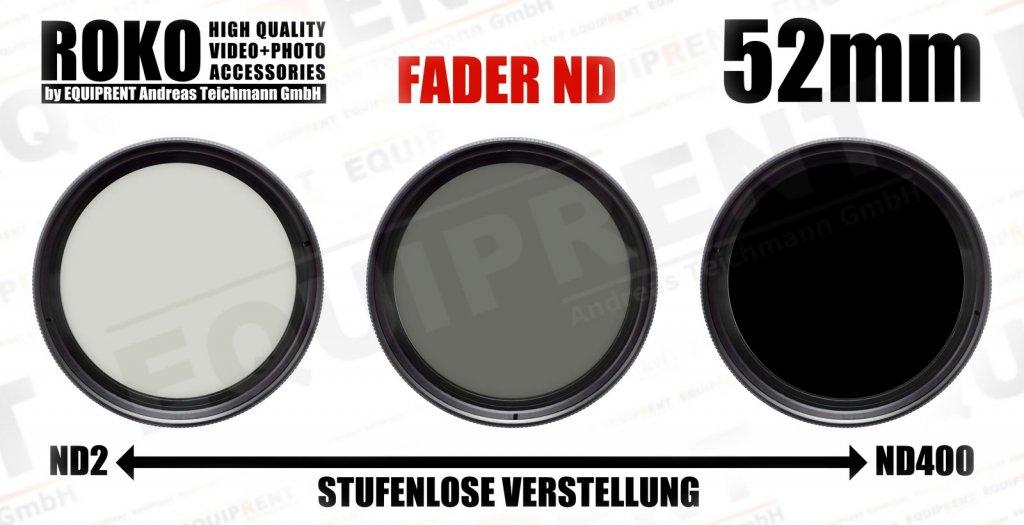 ROKO Slim Fader ND 52mm / Vari / Vario ND Filter (ND2-ND400).