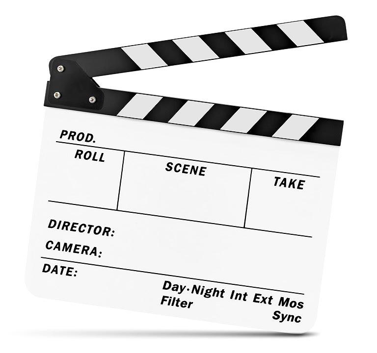 ROKO CBW Filmklappe / Regieklappe / Clapperboard / Slate (weiss).