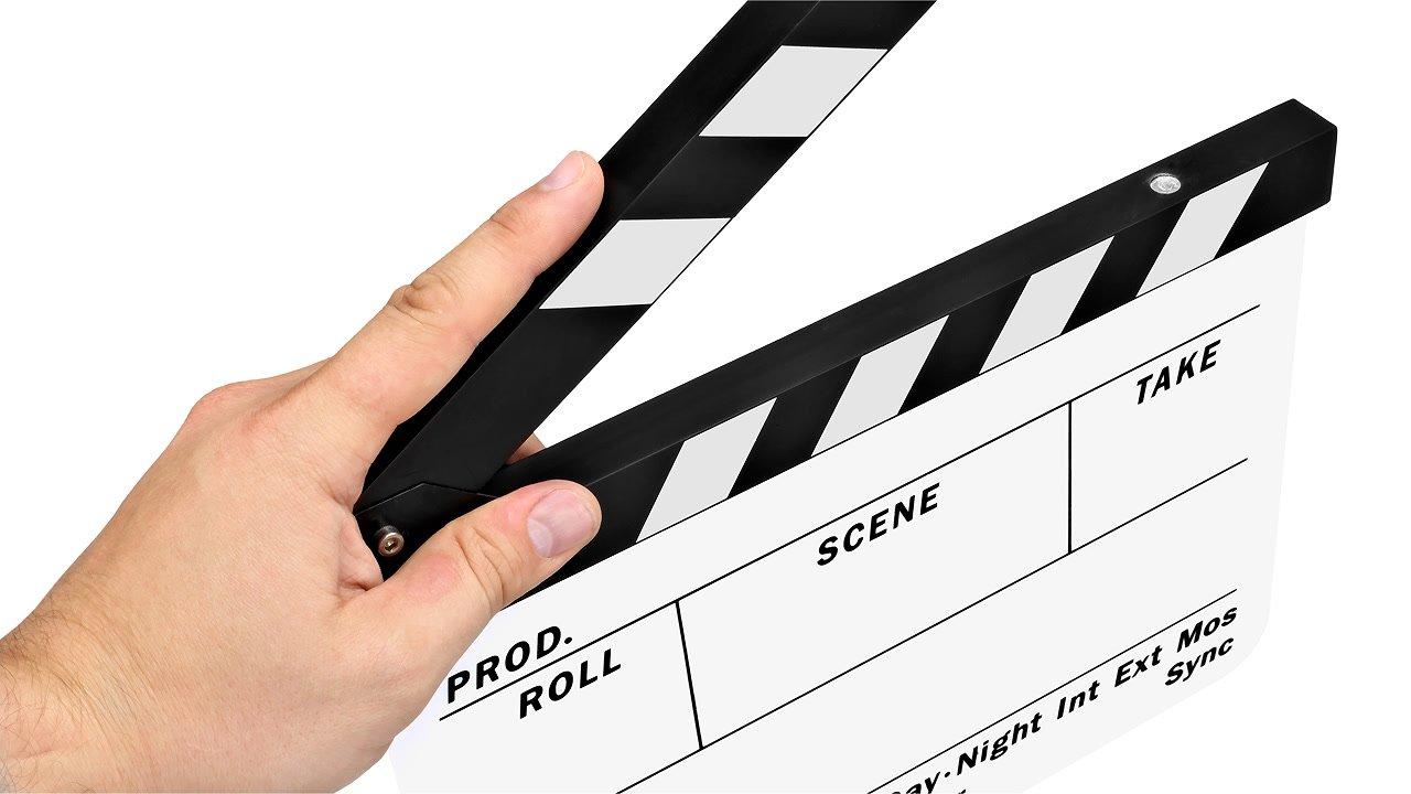 Filmklappe in Aktion.