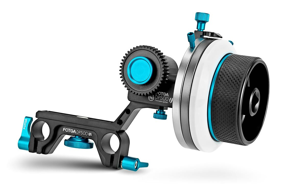 FOTGA DP500III F3 Follow Focus mit einstellbaren Hard Stops.