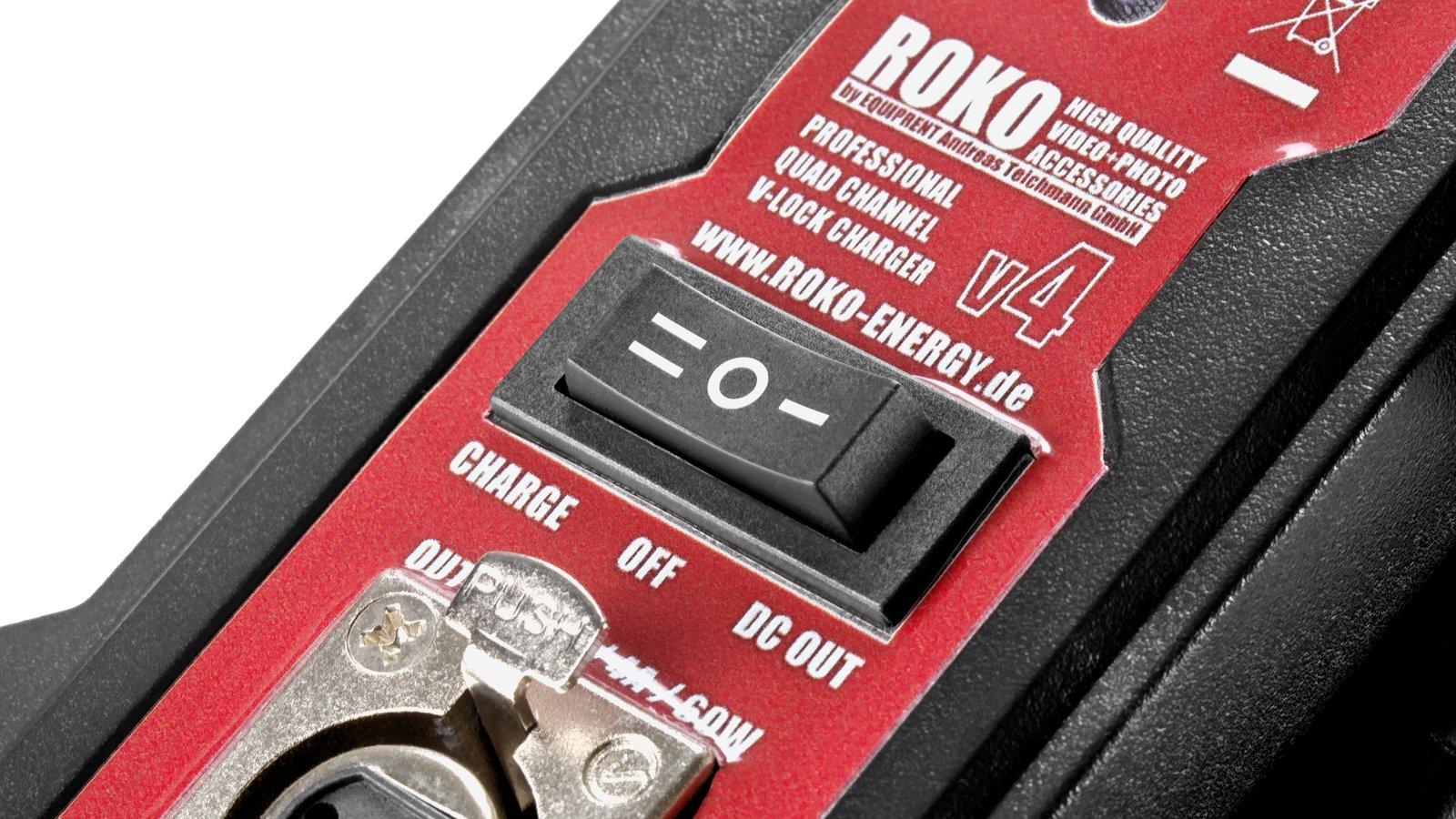 ROKO v4 Ladegerät Front mit Umschalter zwischen Ladefunktion und Netzteil.