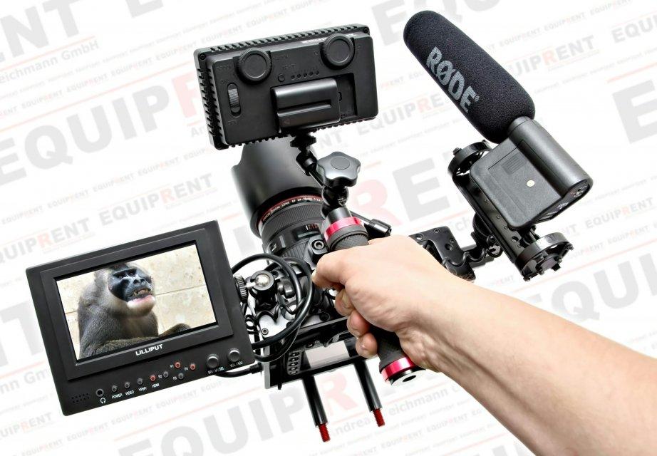 Sunrise HSR-609 Cage mit Monitor Kamera Licht und Mikrofon.