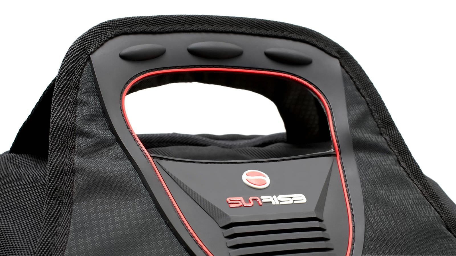 Tragegriff ist in das Rucksackdesign integriert.