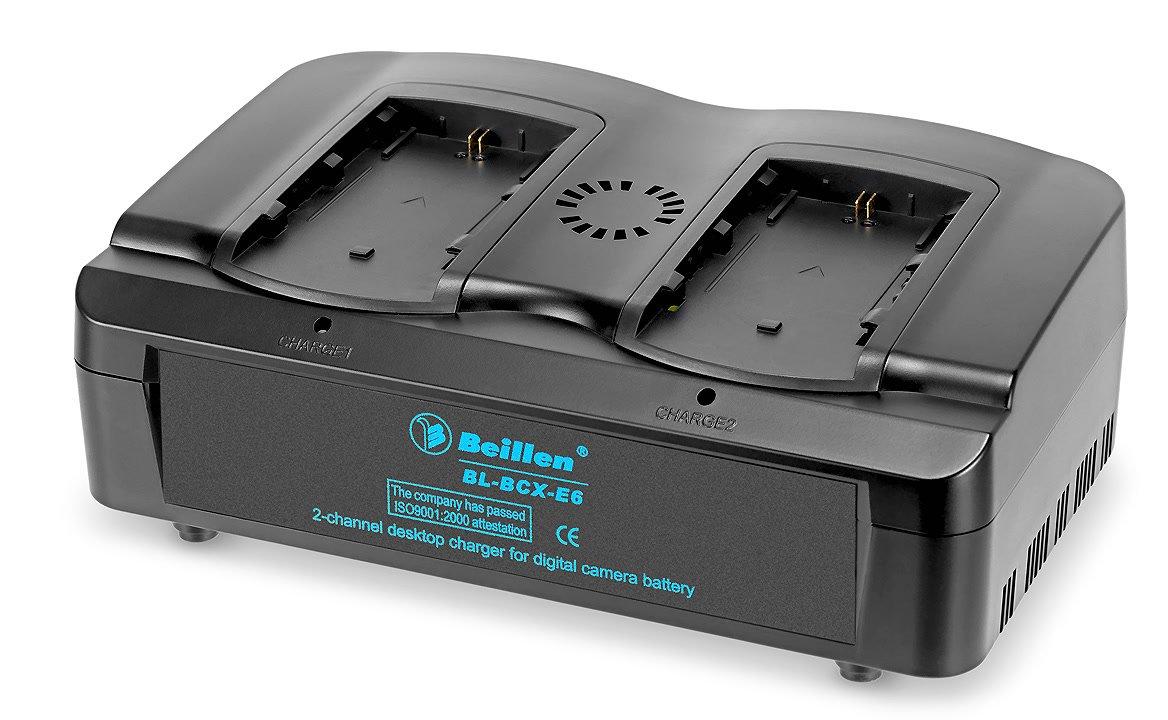 Beillen BL-BCX-E6 paralleles Ladegerät für Canon LP-E6 Akkus.