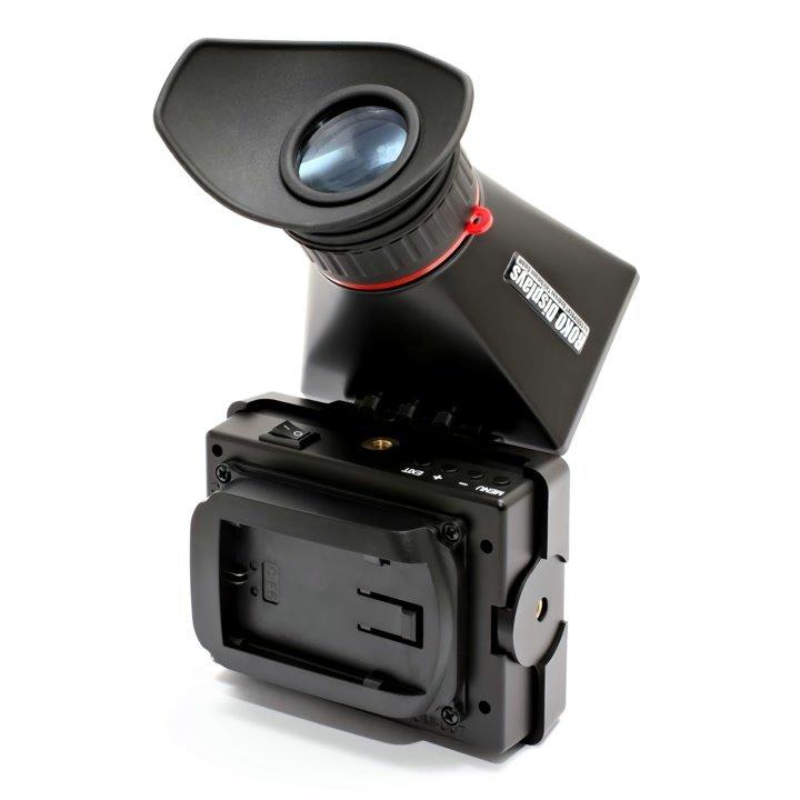 Auf der Rückseite des EVF ist eine Aufnahme für Canon LP-E6 Akkus.