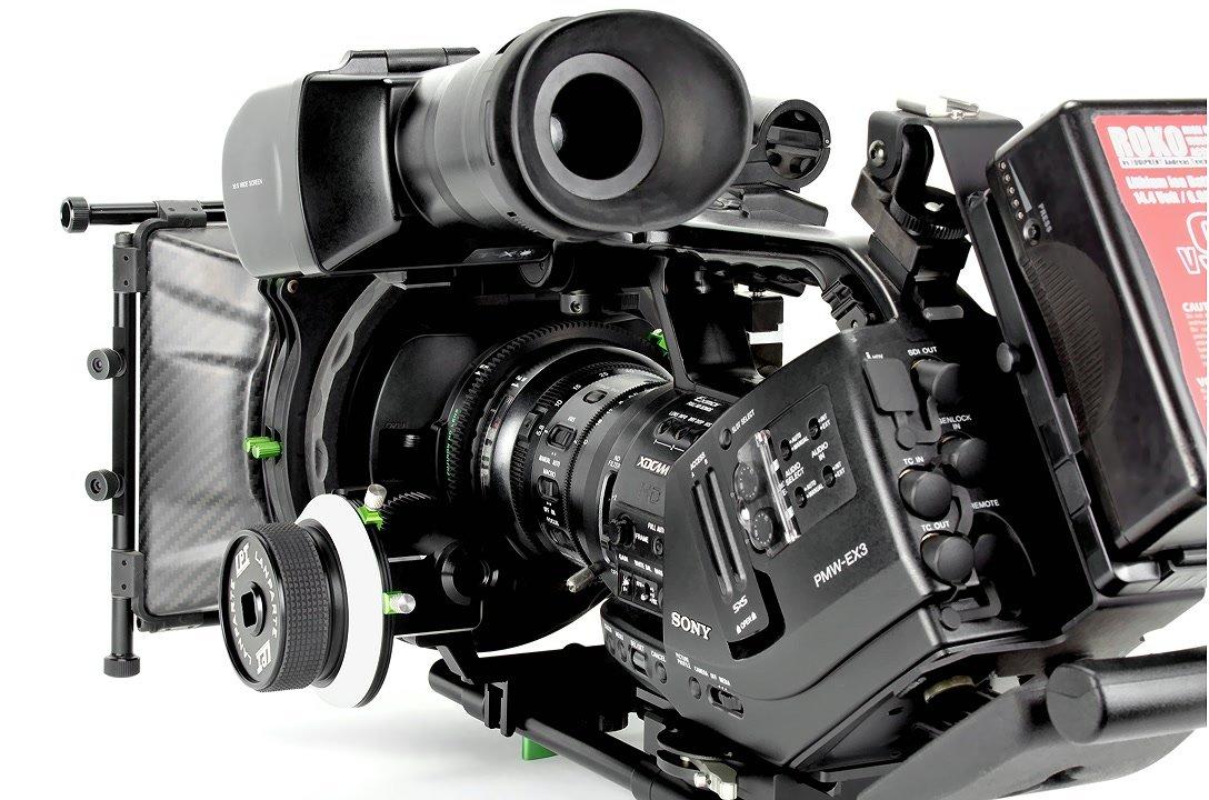 Lanparte Cinema EX Rig mit Sony EX3 von links.