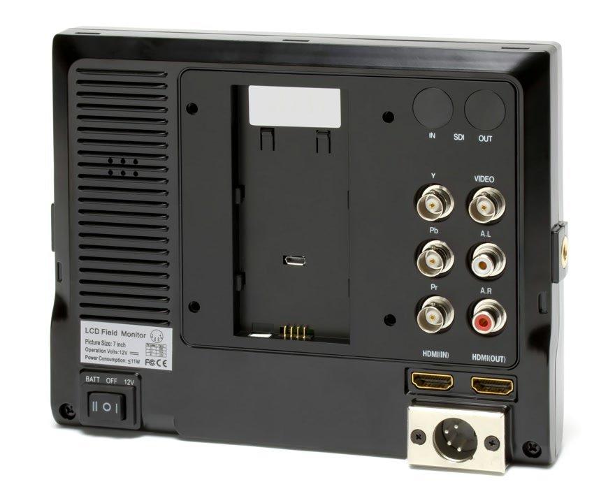 Rückseite Lilliput 663 O/P2 Monitor.