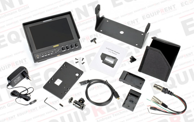 Lieferumfang des Lilliput 663 S/P2 Monitores.