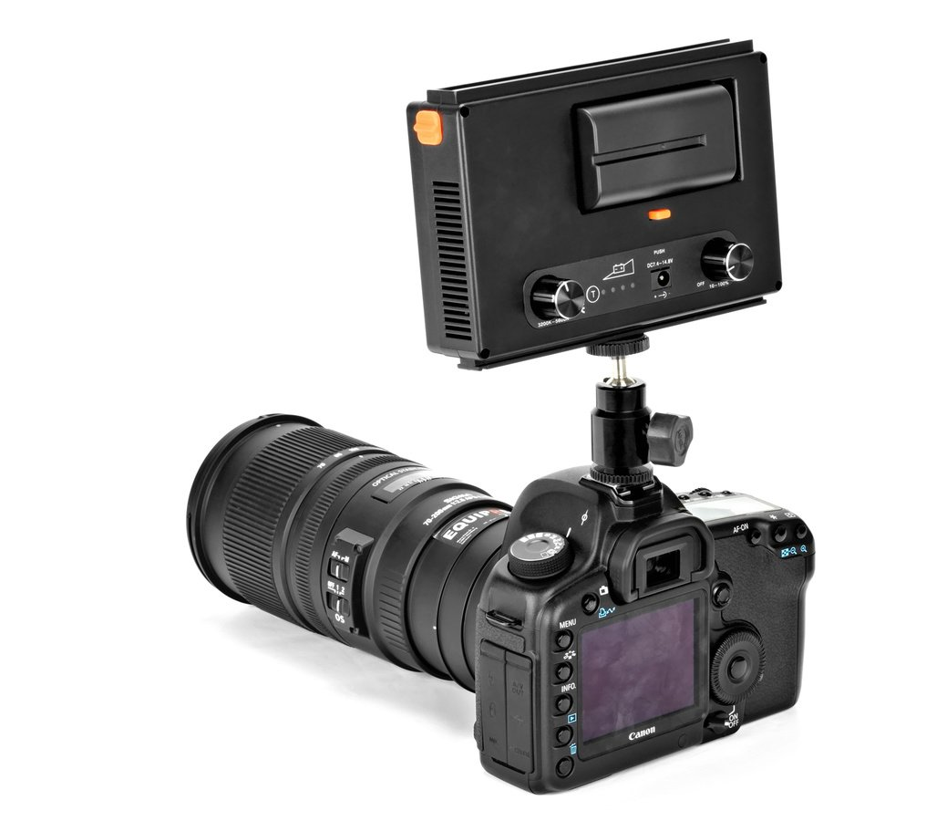 Canon 5D Mark II mit ROKO LED209 Leuchte von hinten.