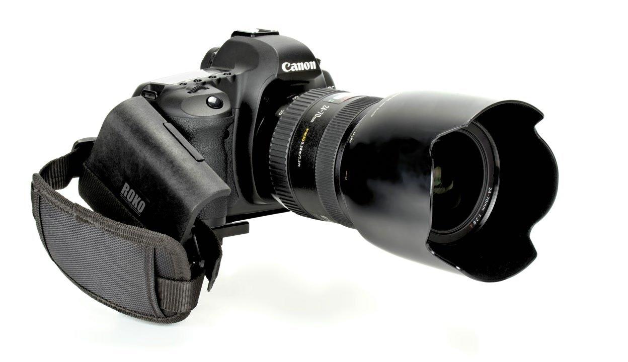 Canon 5D Mark II mit Camcorder Griff von vorne.