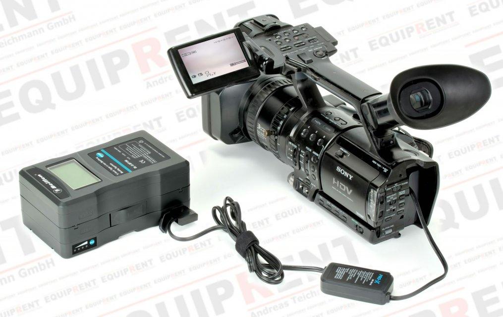 Pro-X XP-DV-S Spannungswandler 12V/D-Tap mit Sony NP-F Akkudummy.