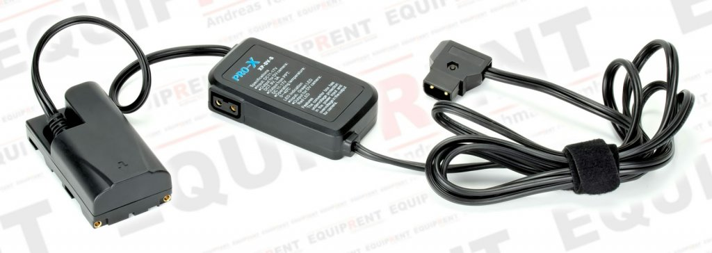 Pro-X Spannungswandler mit Sony NP-F Akkudummy.
