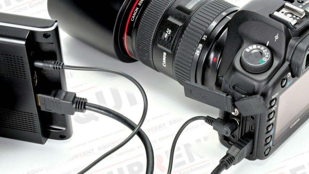 Lilliput 664 O Monitor verbunden mit Canon 5D Mark II.
