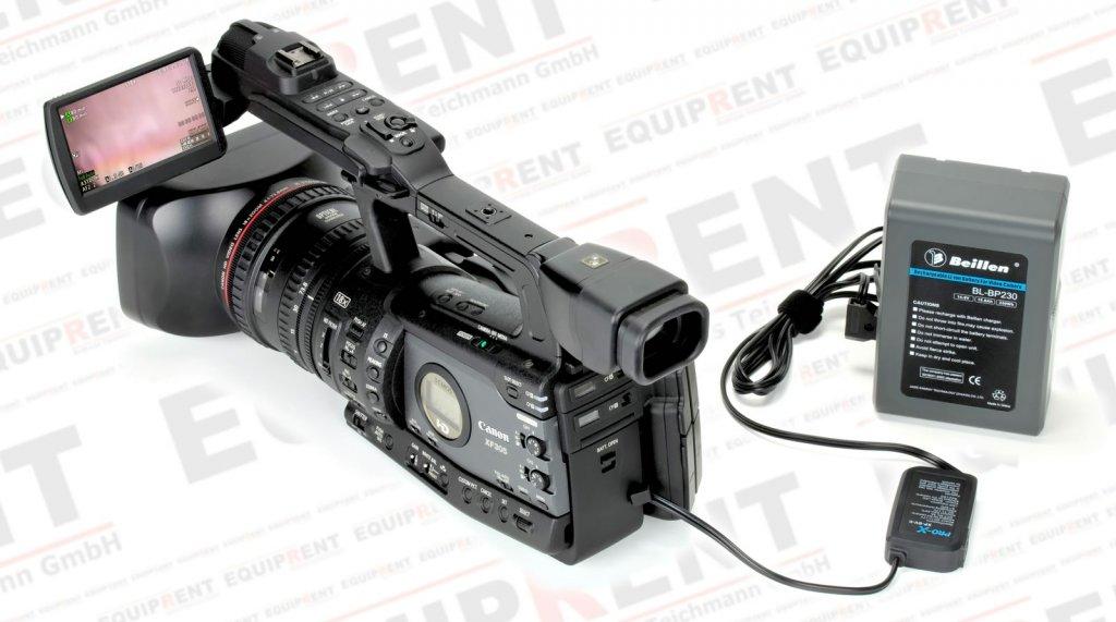 Pro-X XP-DV-C Spannungswandler 12V/D-Tap mit Canon BP-9xx Akkudummy.