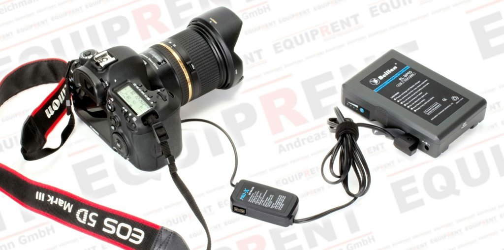 Pro-X XP-DV-CH Spannungswandler 12V/D-Tap mit Canon LP-E6 Akkudummy.
