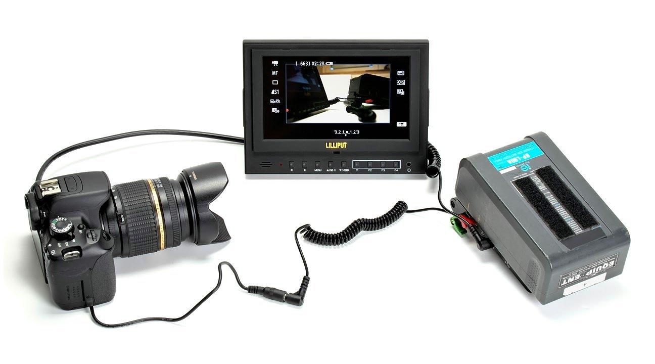 Lanparte VBP-02 Spannungswandler mit Canon 650D und Lilliput Monitor.