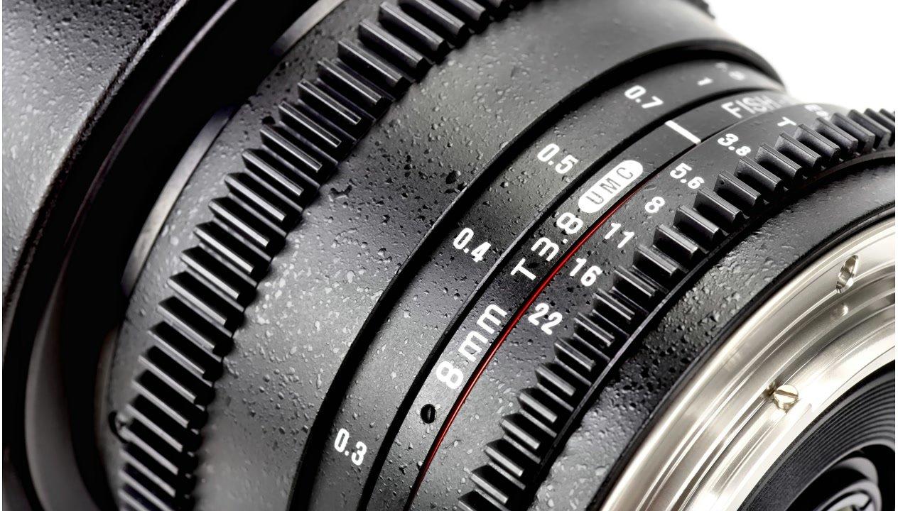Blenden- und Schärfeskala am Samyang 8mm t3.8 Fisheye für Canon EF-S.