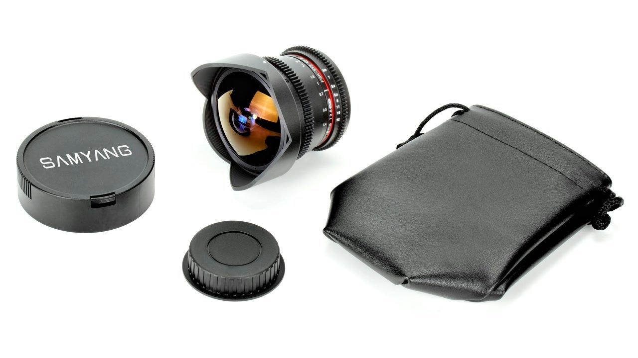 Lieferumfang Samyang 8mm t3.8 Fisheye für Canon EF-S Mount.