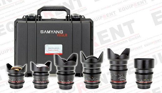 Sechs Samyang Objektive mit Samyang Objektivkoffer
